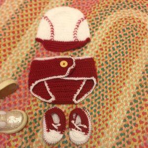 Hand crocheted newborn baseball outfit